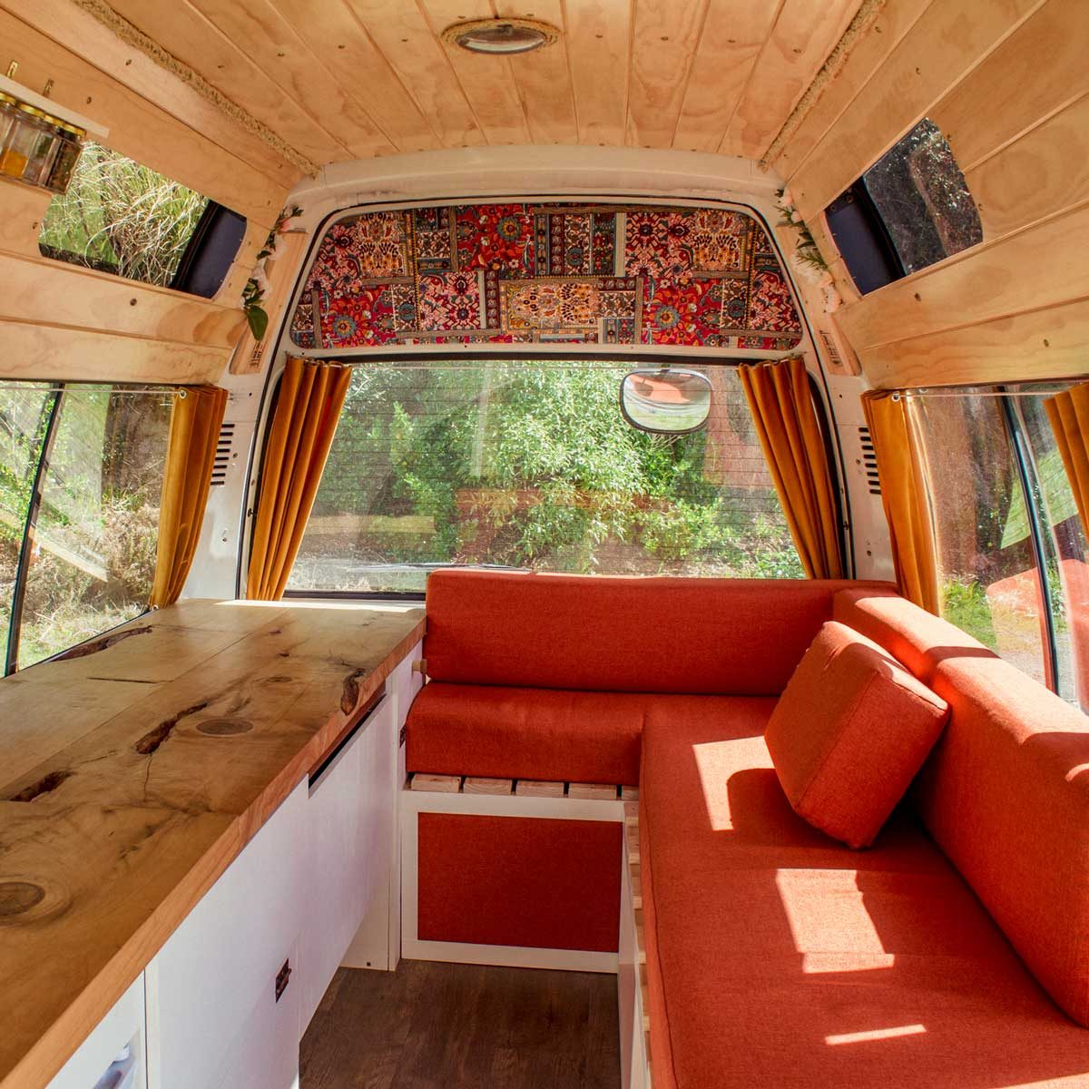 Red RV interior