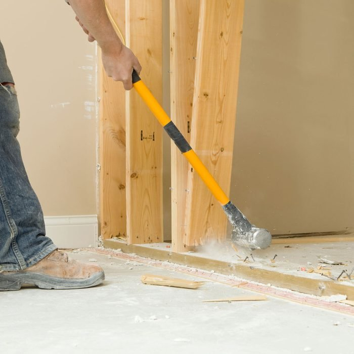 Removing wall studs with a hammer