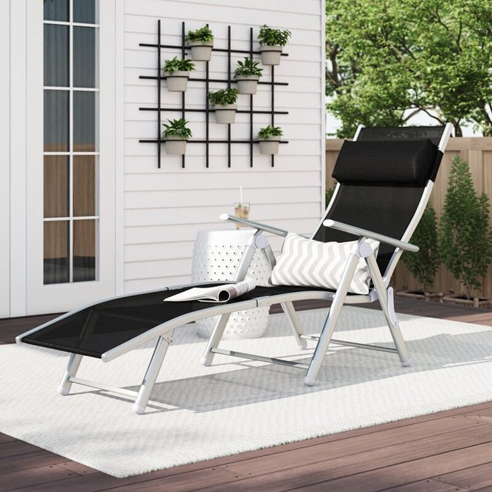 Patio Reclining Chaise Lounge with Cushions