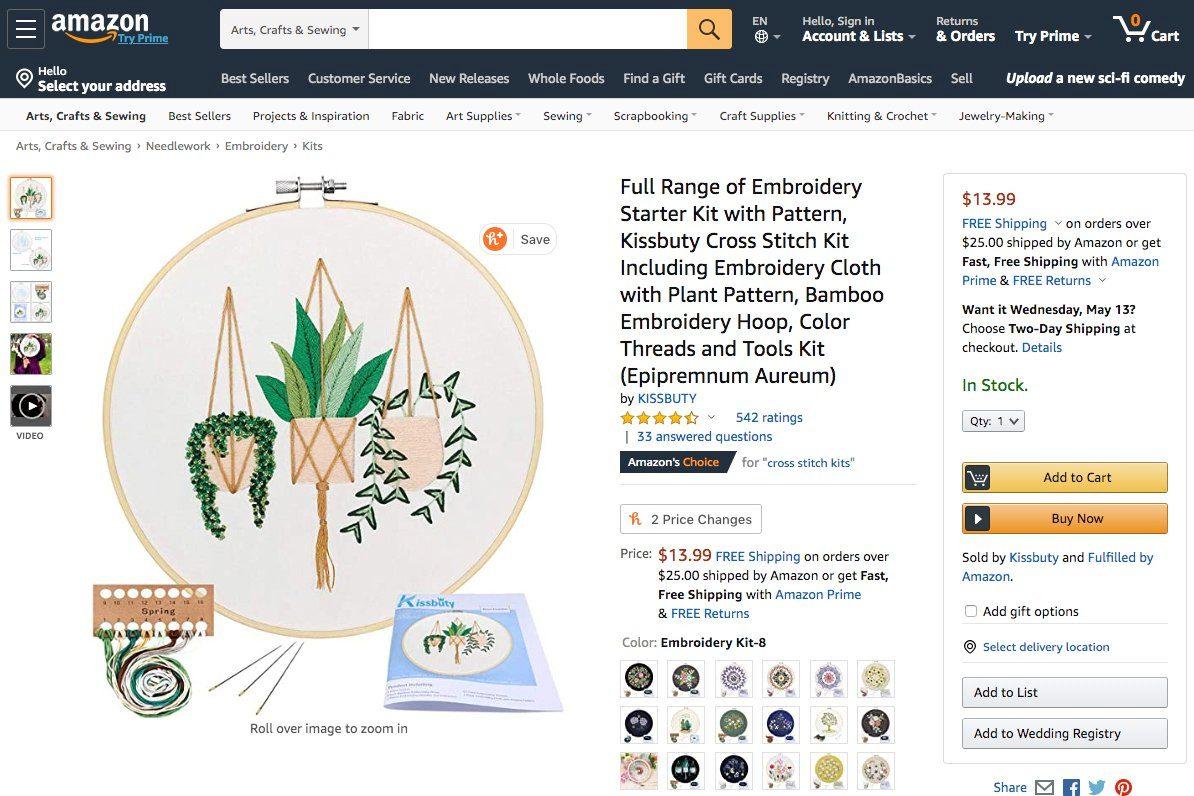 Cross-stitch kit: Amazon delivery