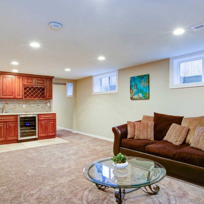 Basement with carpet