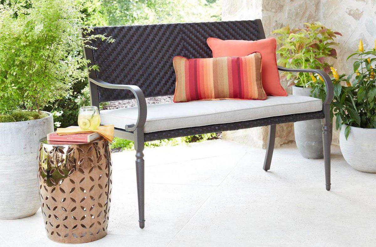 Brown Wicker Outdoor Bench