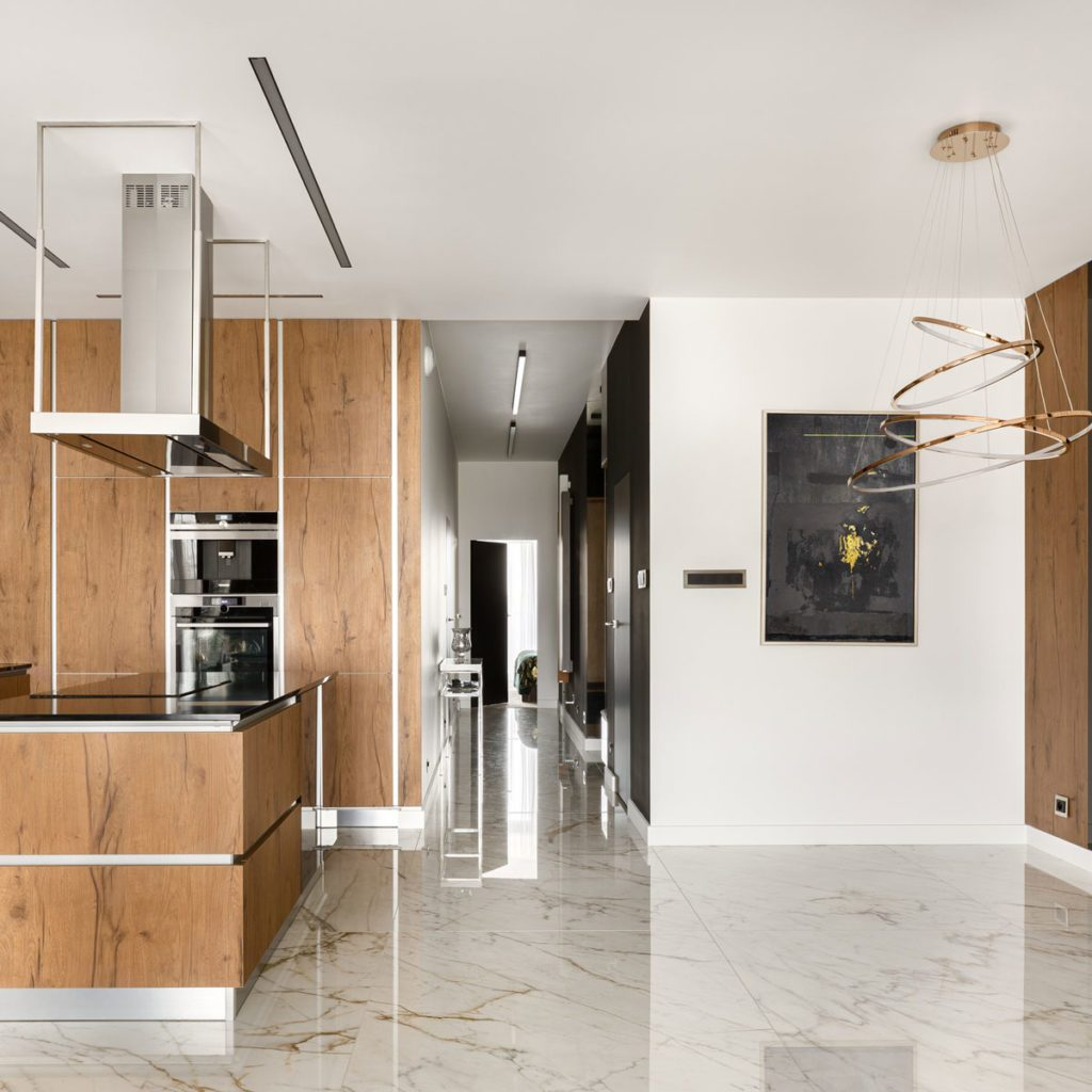 Kitchen with marble floor