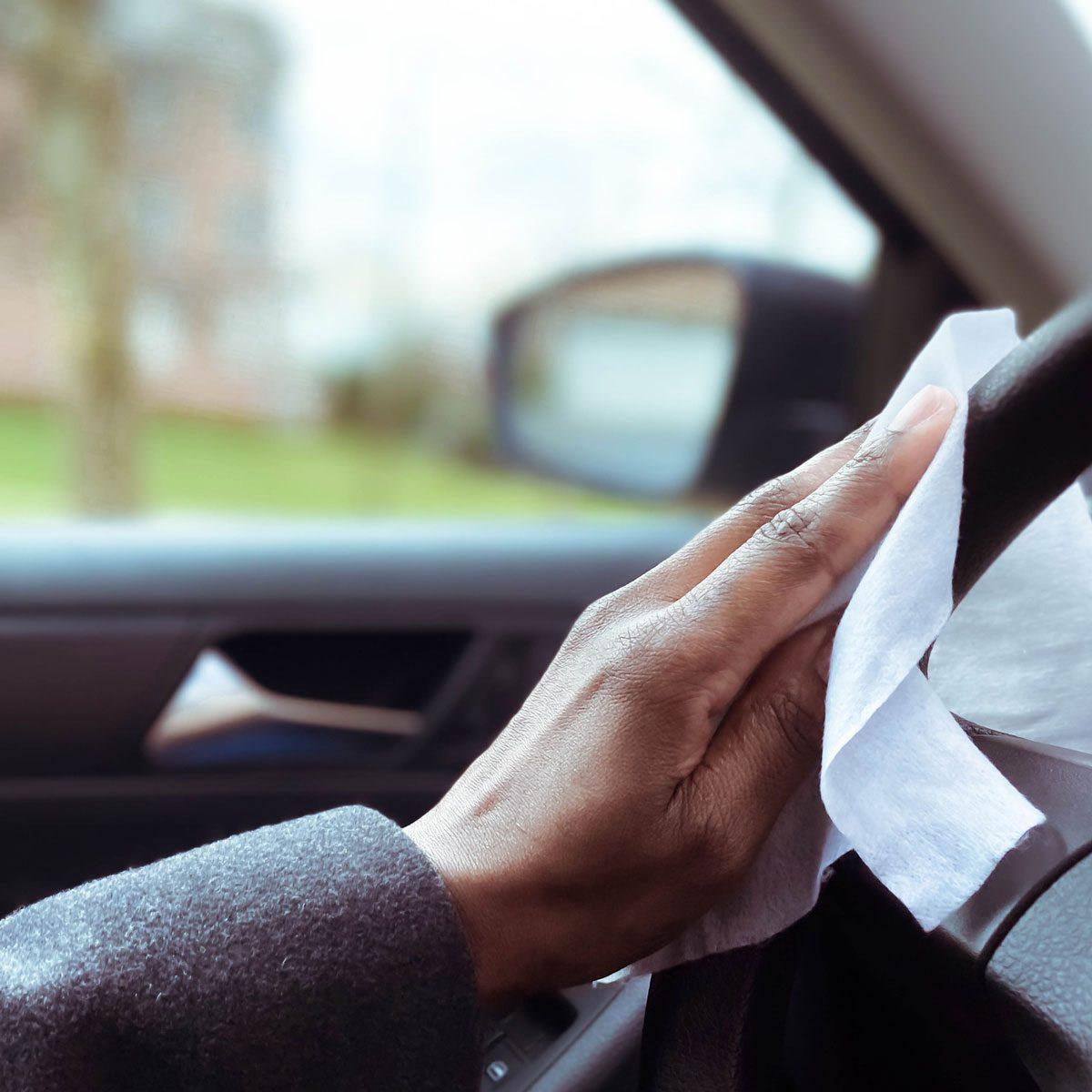 Wiping a steering wheel