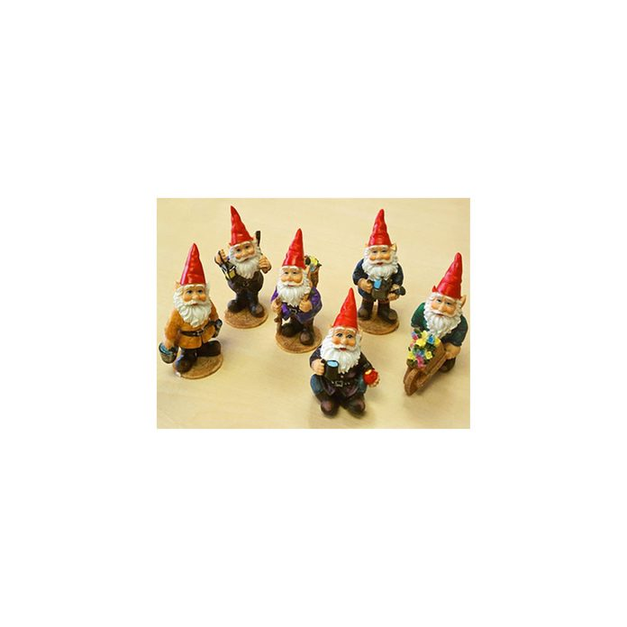 Six mini garden gnomes