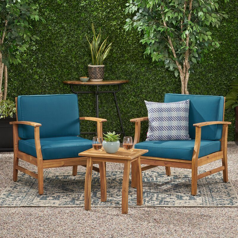 three piece outdoor chair set with cushions