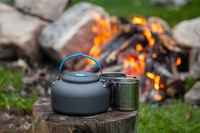 Close-up of kettle and two mugs of hot tea on tree stump at campsite