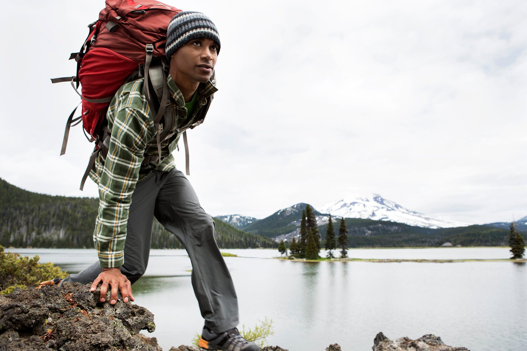 A man hiking with a backpack.