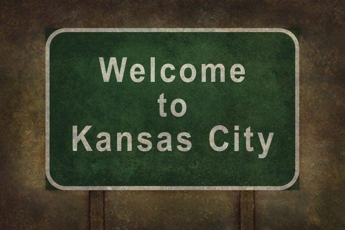 Welcome to Kansas City roadside sign illustration