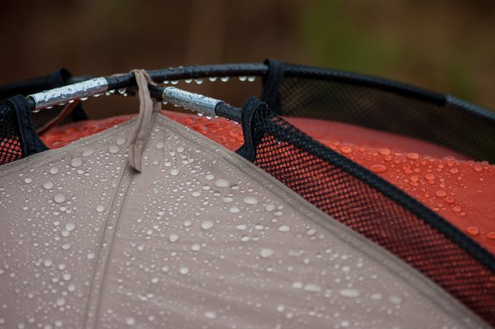 Water drops on the tent