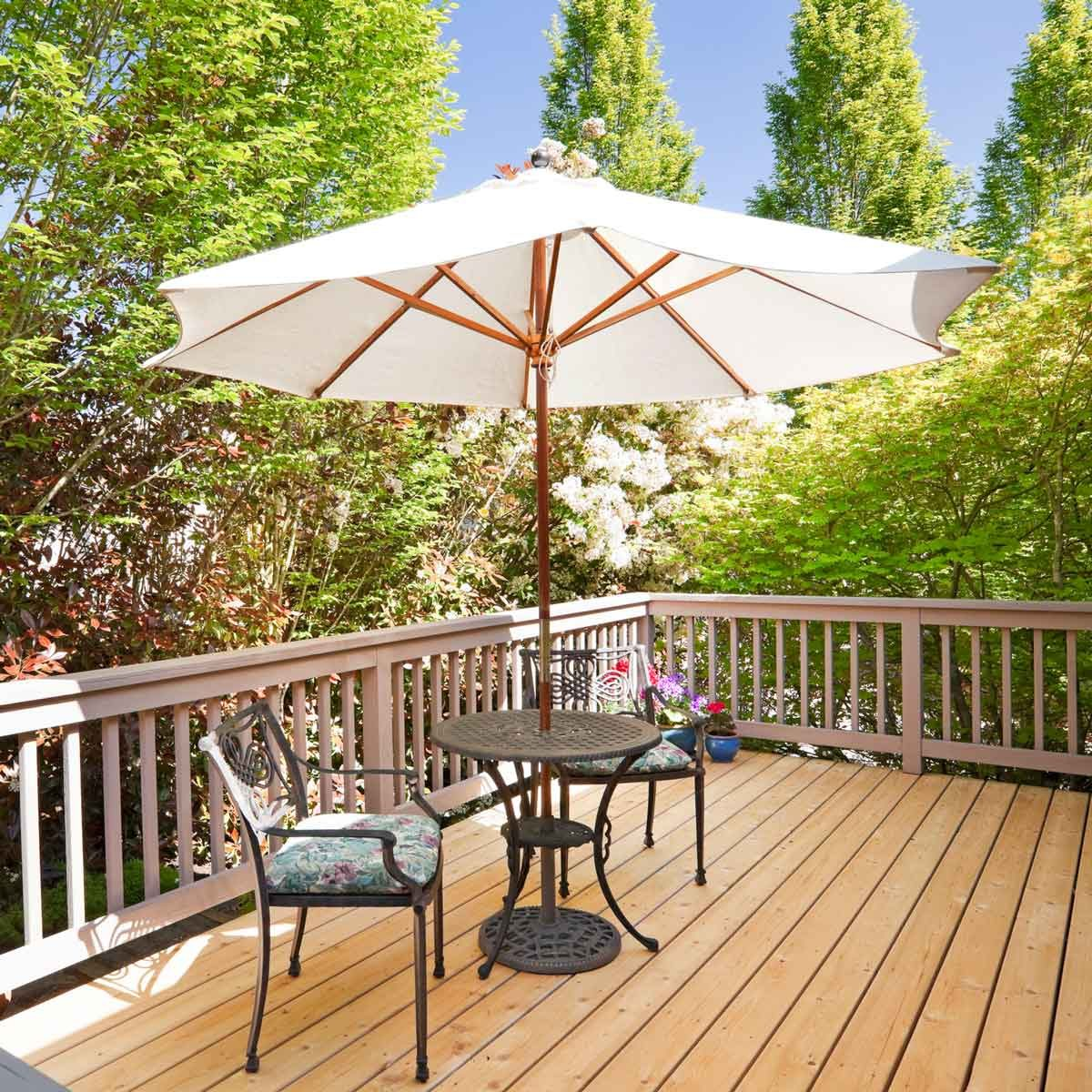 Deck with an umbrella