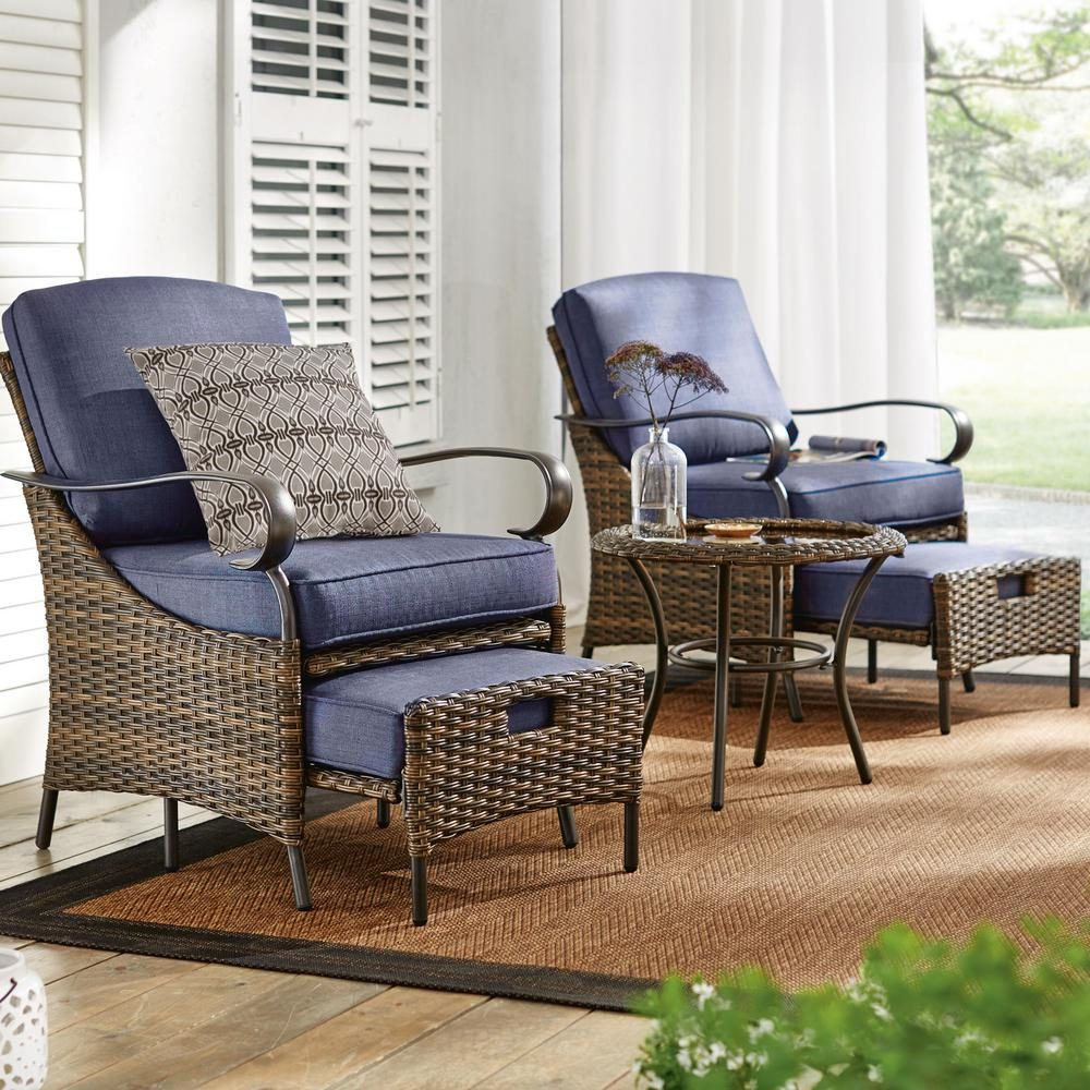 5-Piece Brown Wicker Outdoor Patio Conversation Seating Set with Standard Sky Blue Cushions
