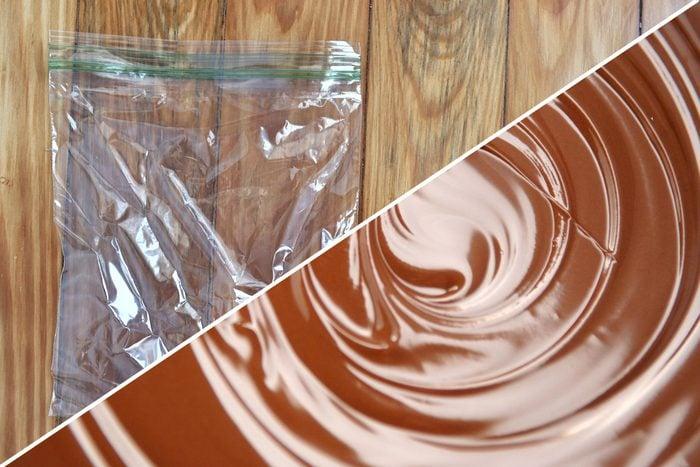 melted chocolate plastic bag uses life hacks