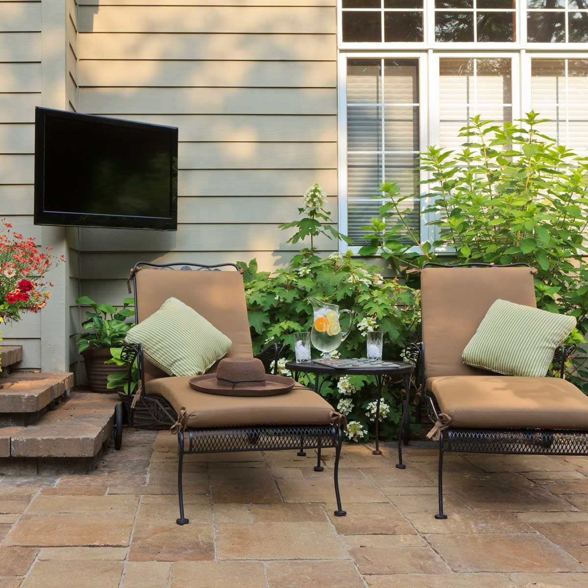 Patio with an outdoor TV