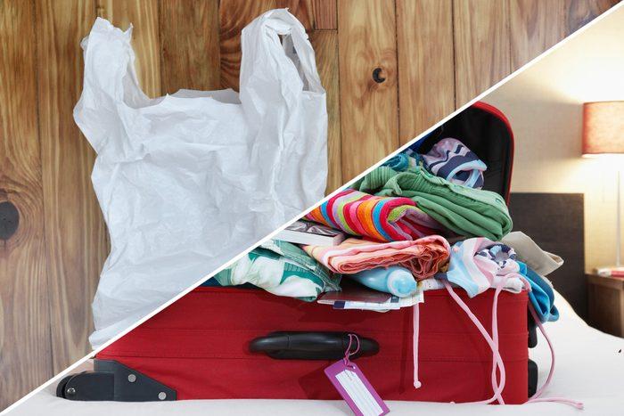 suitcase plastic bag hacks