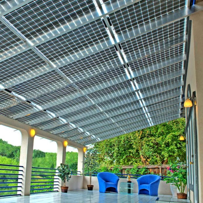 solar panels on roof under patio