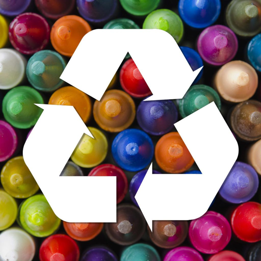 crayons recycling, logo, recycle