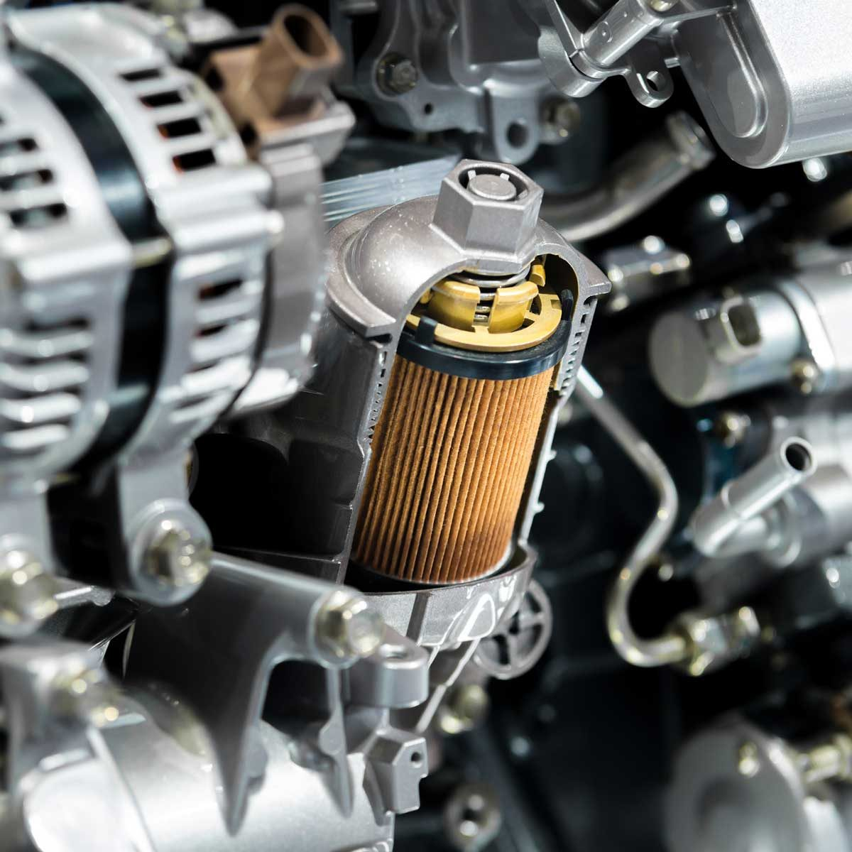 Oil filter in a car