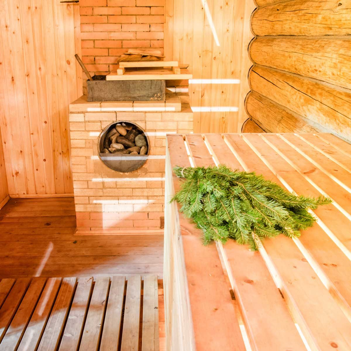 Wood burning sauna