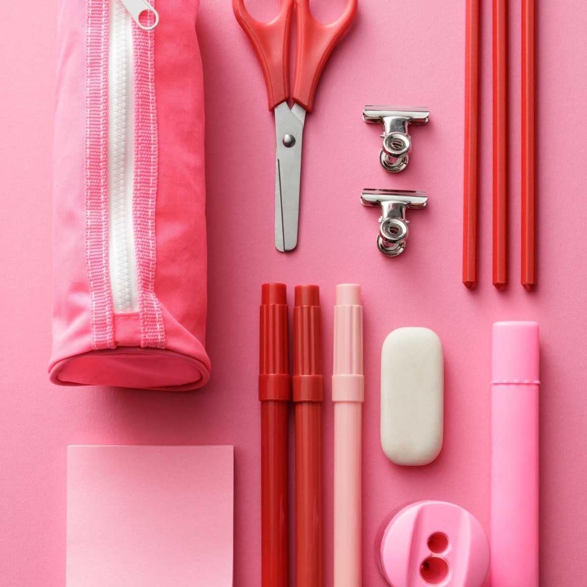 Color coded school supplies
