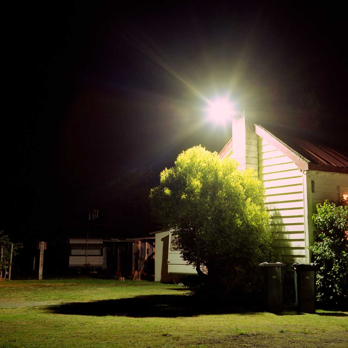 Floodlight on a home
