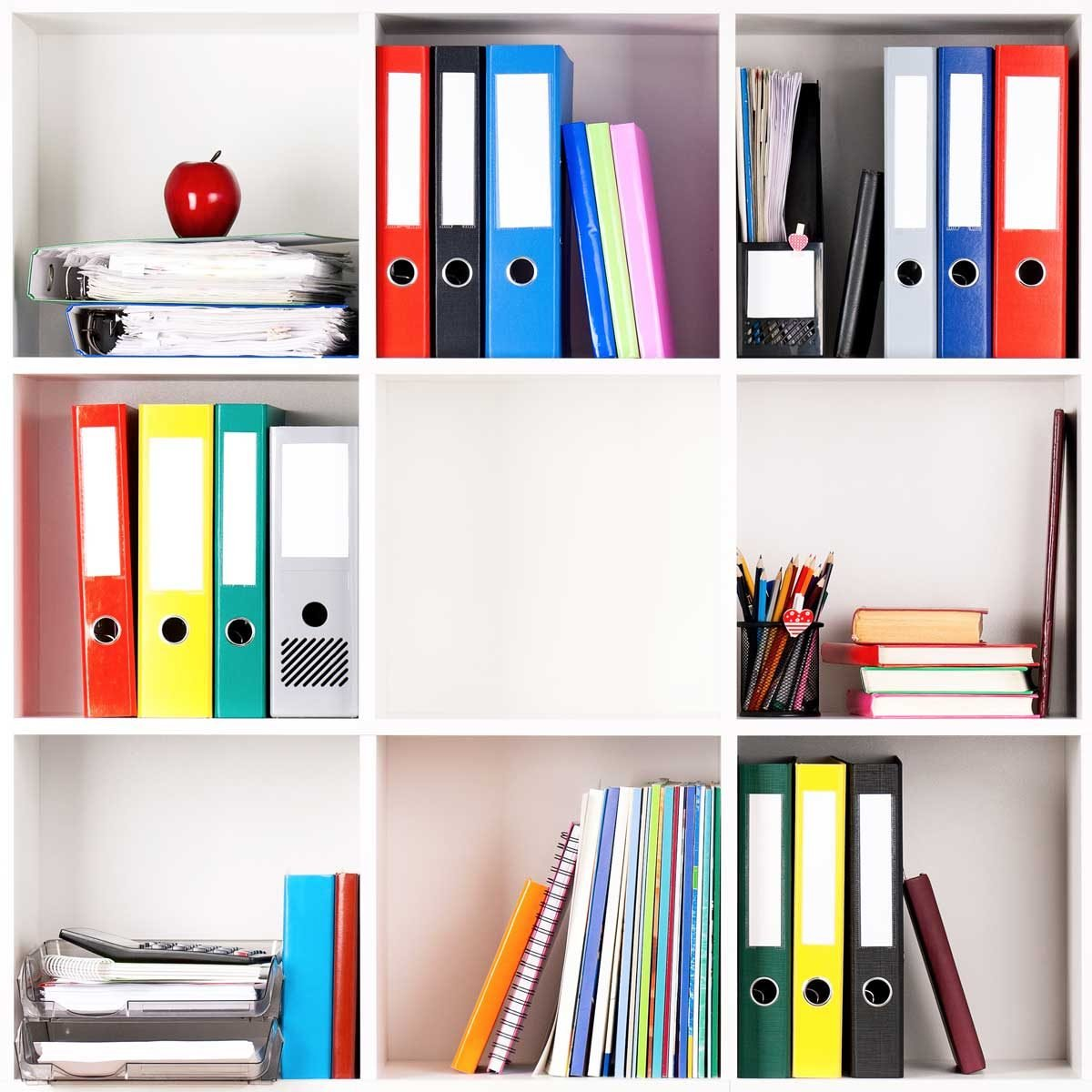 Office supplies on shelves