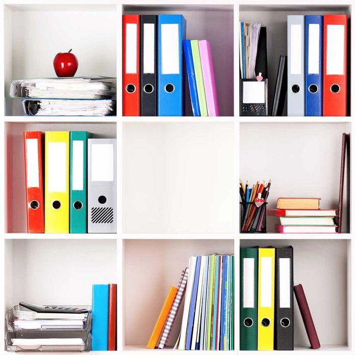 Office supplies on shelves