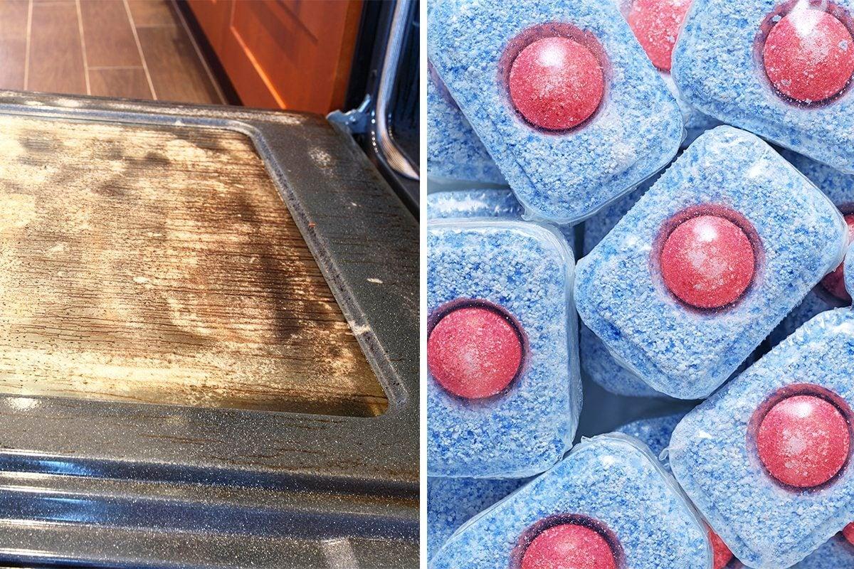 oven cleaning dishwasher tablet hack
