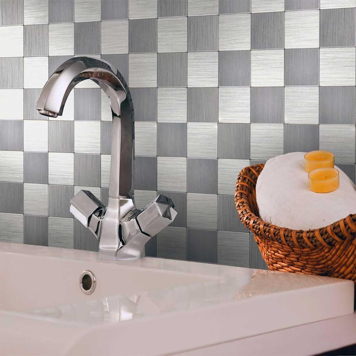 Metal checkerboard tile