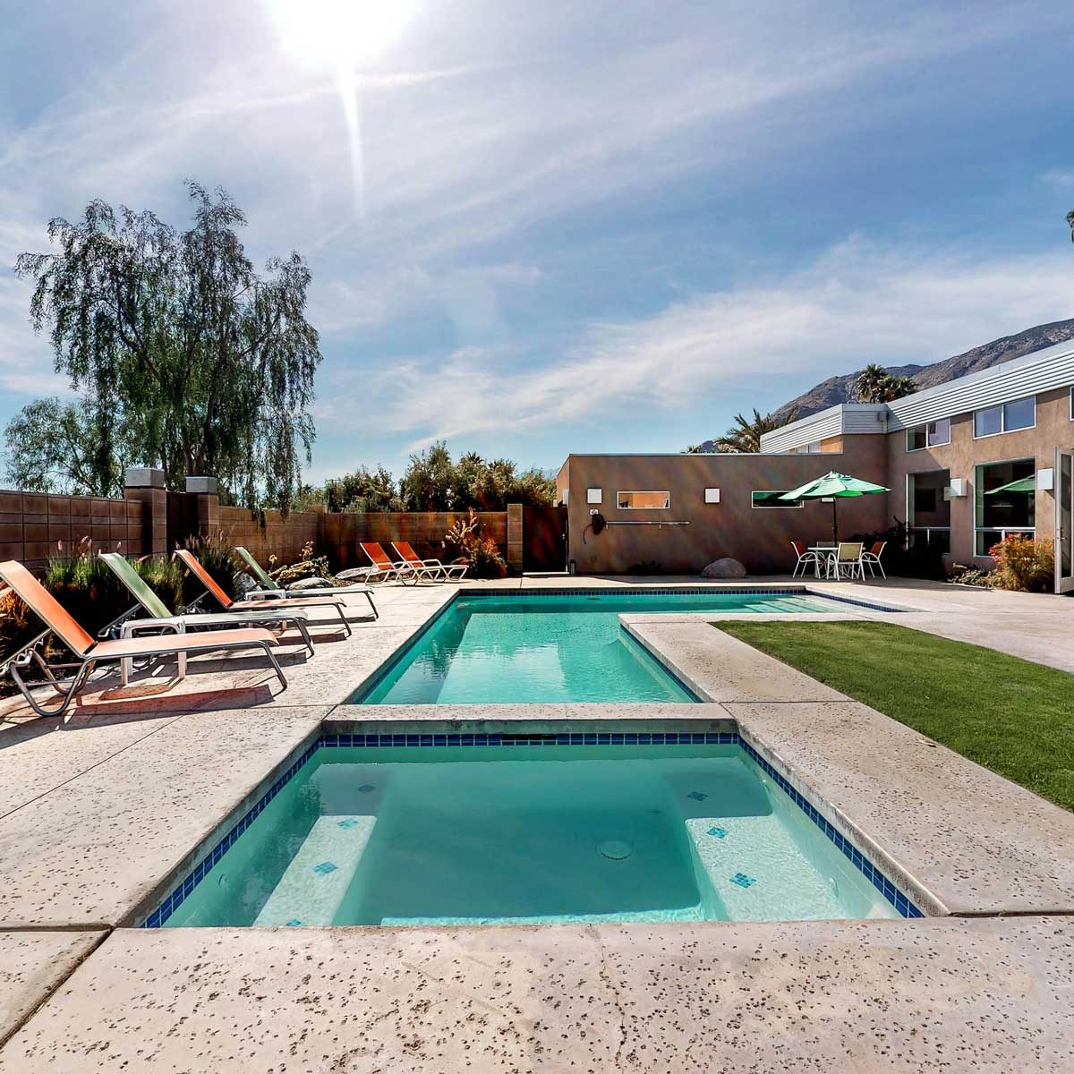 mid century modern style home pool area