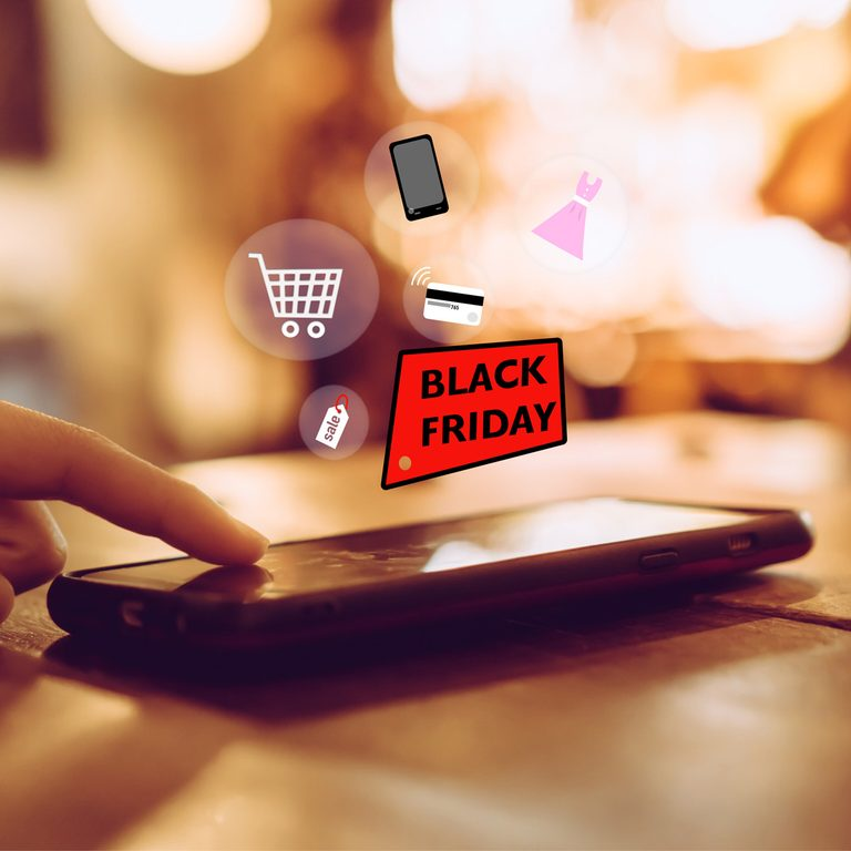 black friday shopping on smartphone