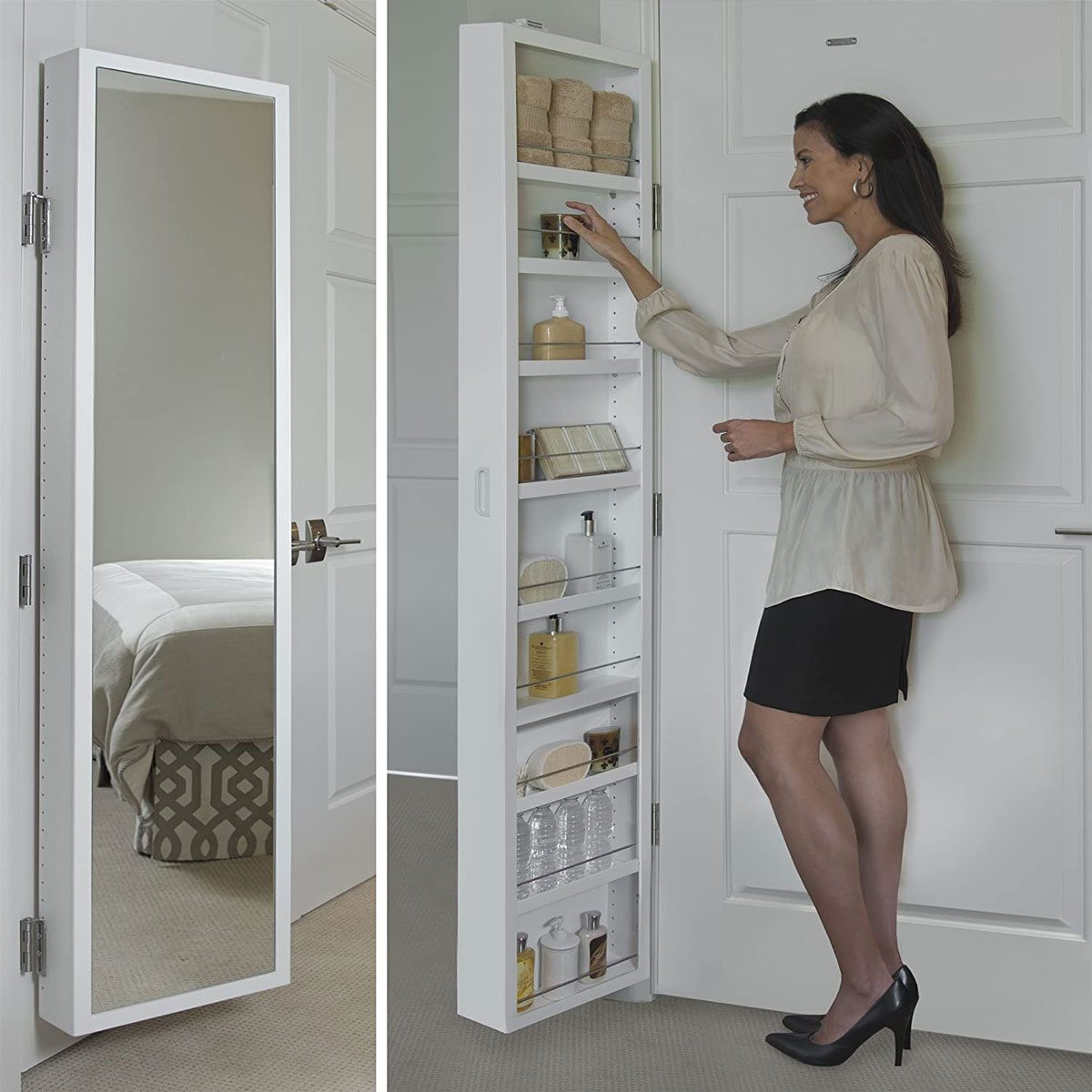 Behind door storage mirror