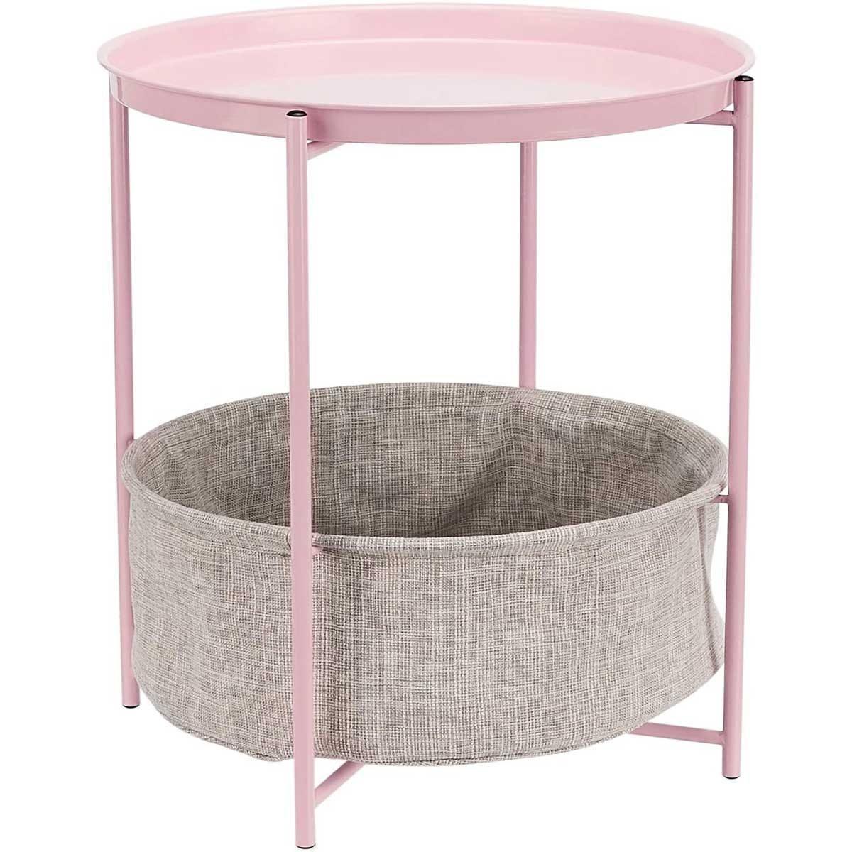 Pink round nightstand