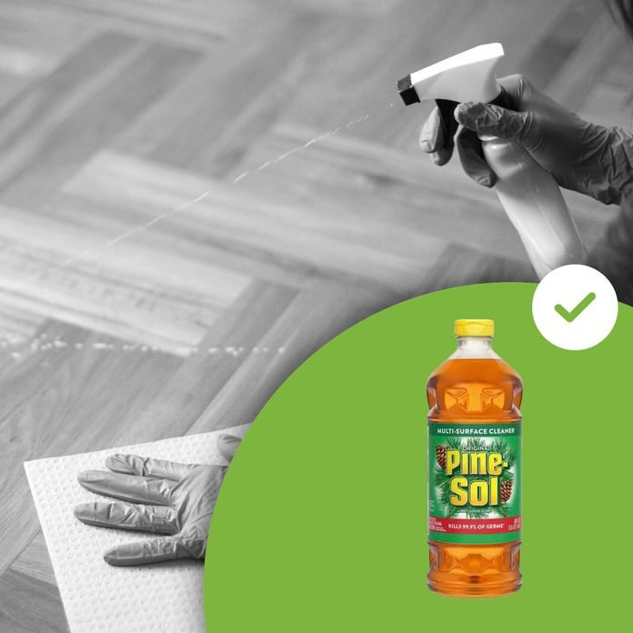 cleaning floors with pine sol