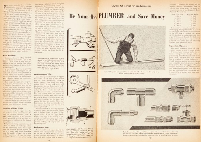 "Vintage Family Handyman magazine spread: ""Be Your Own Plumber"""