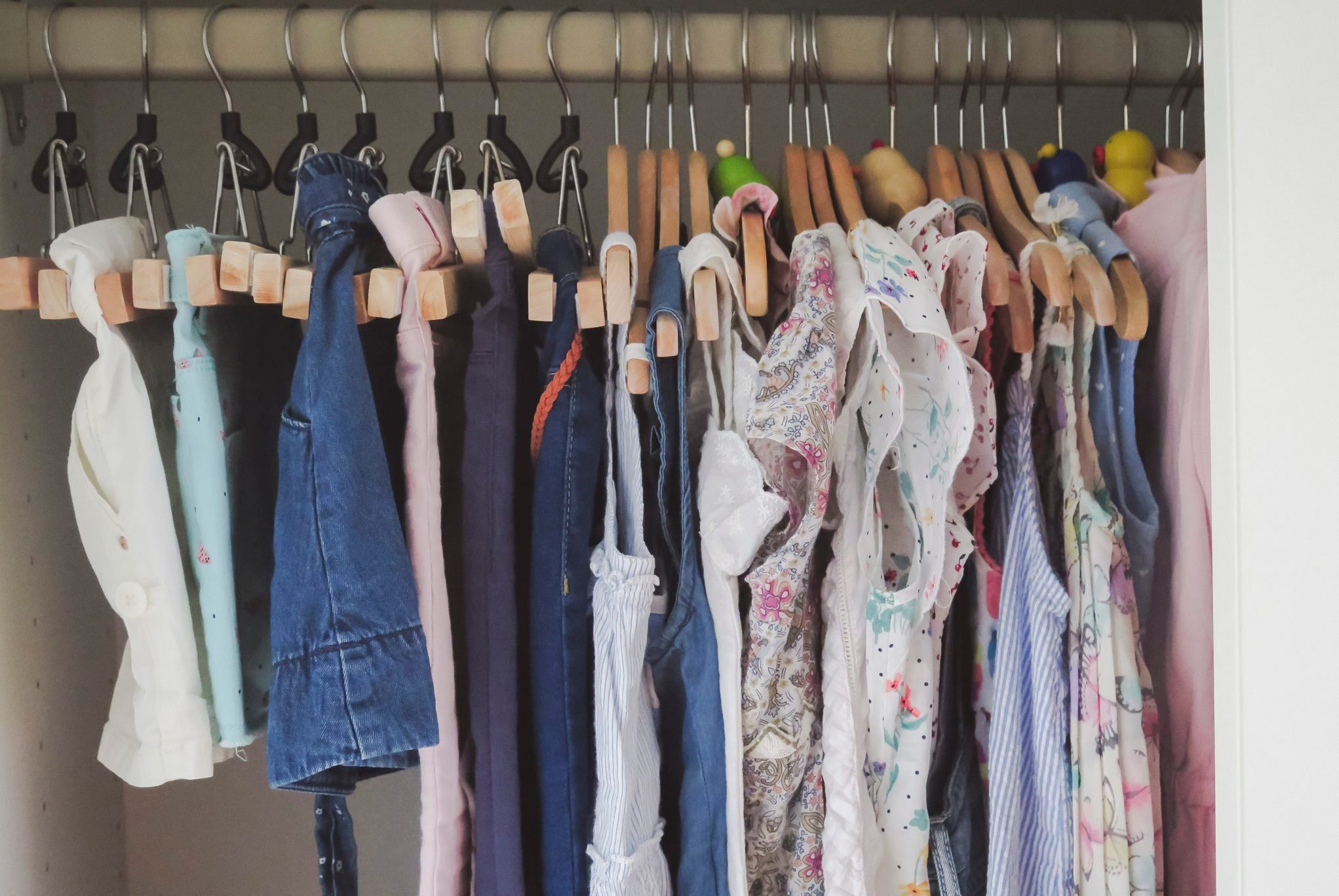 Girl clothes inside the wardrobe