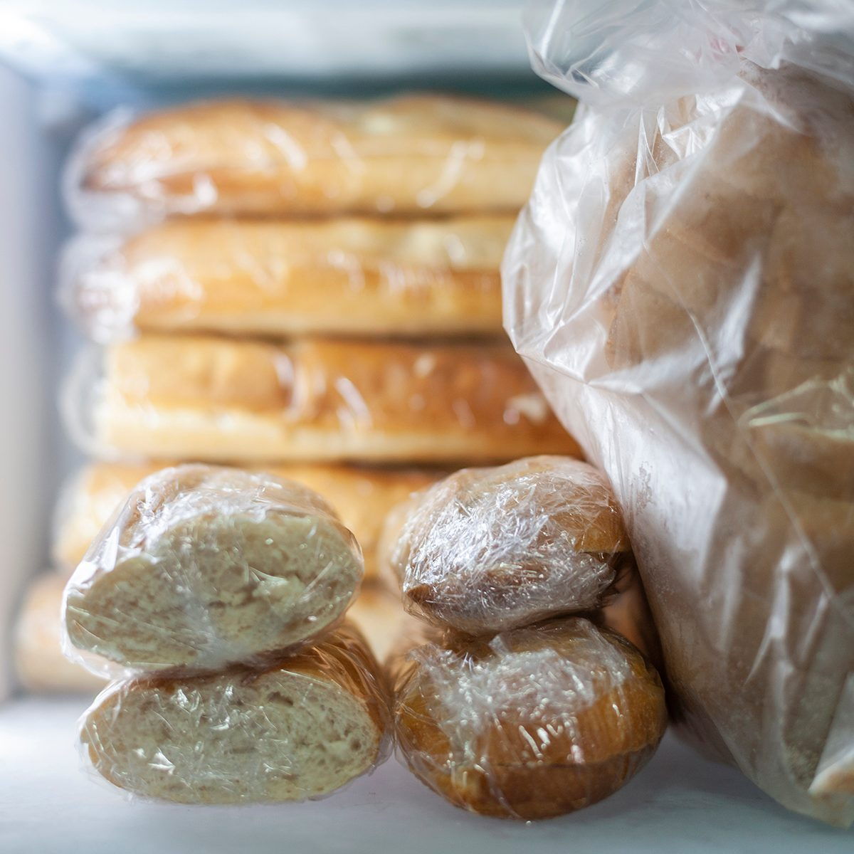 Loaves of bread wrapped in plastic, to avoid going to the market every day to buy in times of corona-virus. Spain, Europe