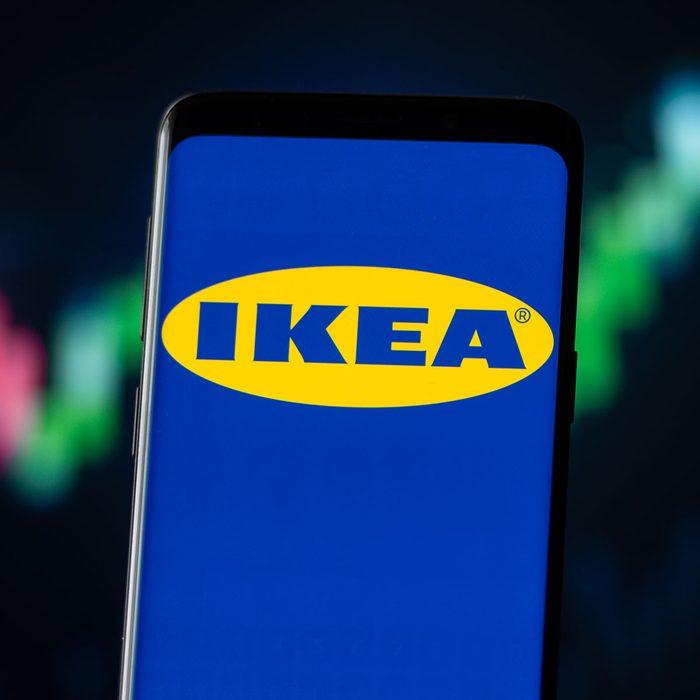 Ikea logo on a phone