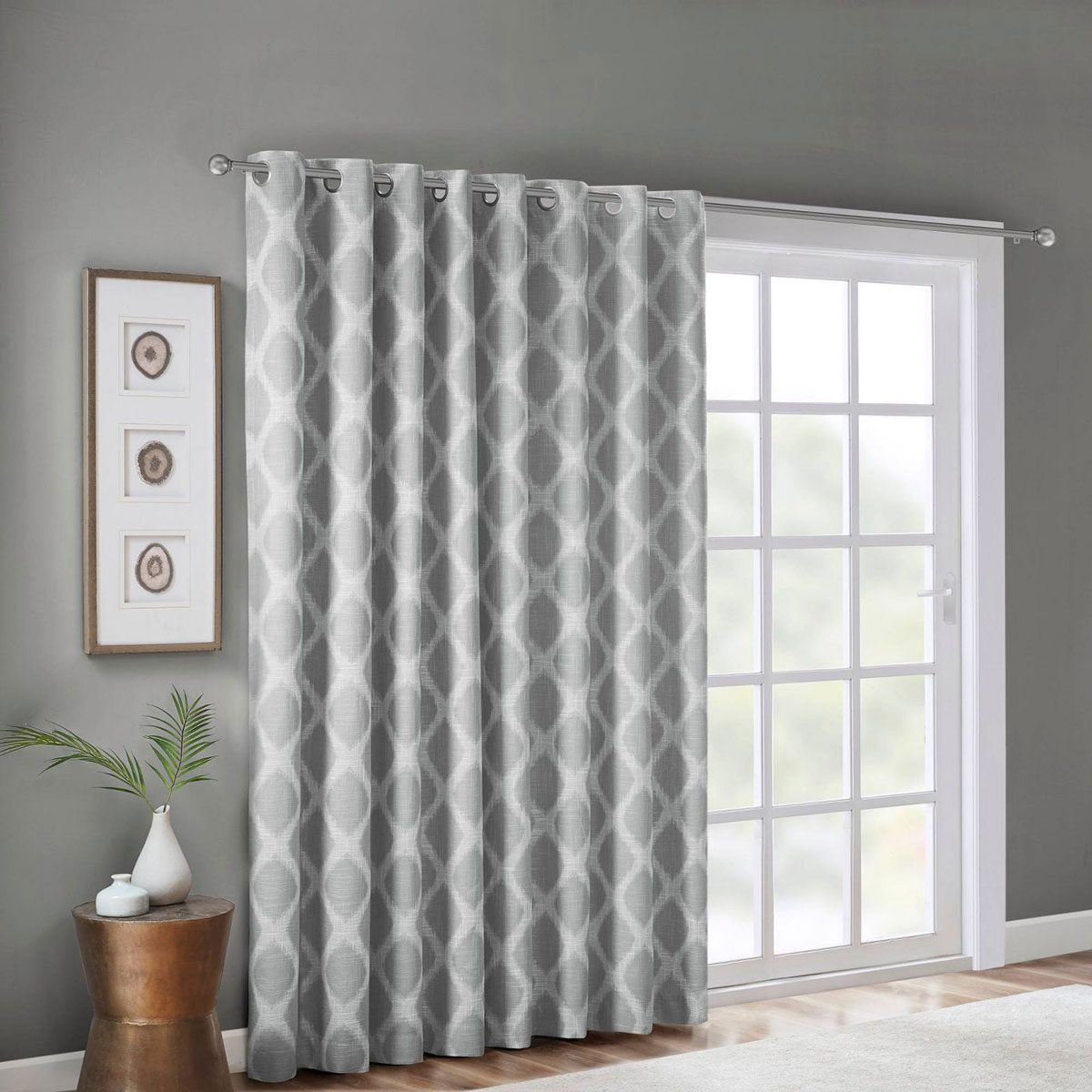 grey and white printed blackout curtains