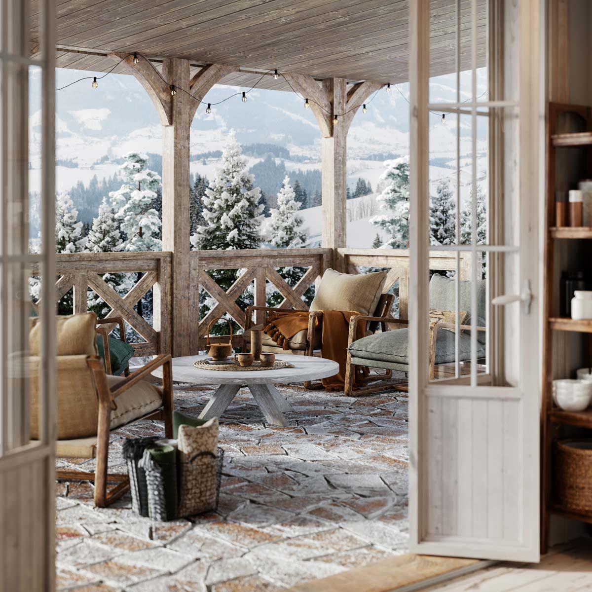 cozy balcony in snowy winter cottage