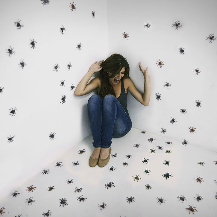 woman scared of spiders