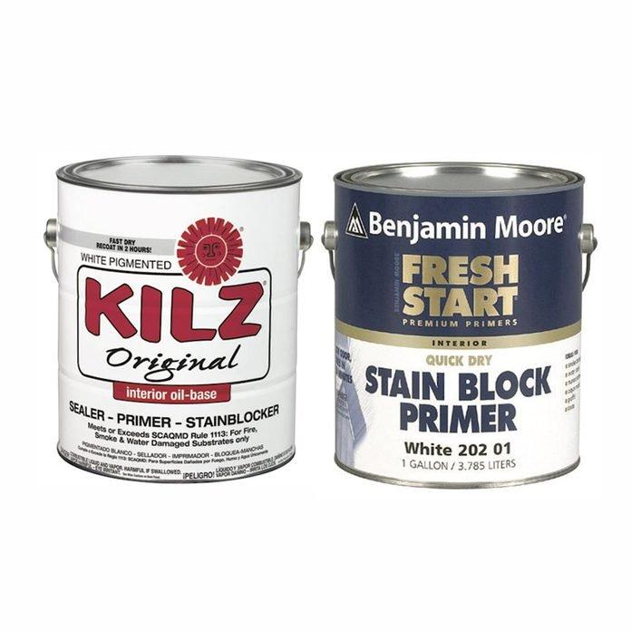 Kilz and Benjamin Moore paint cans