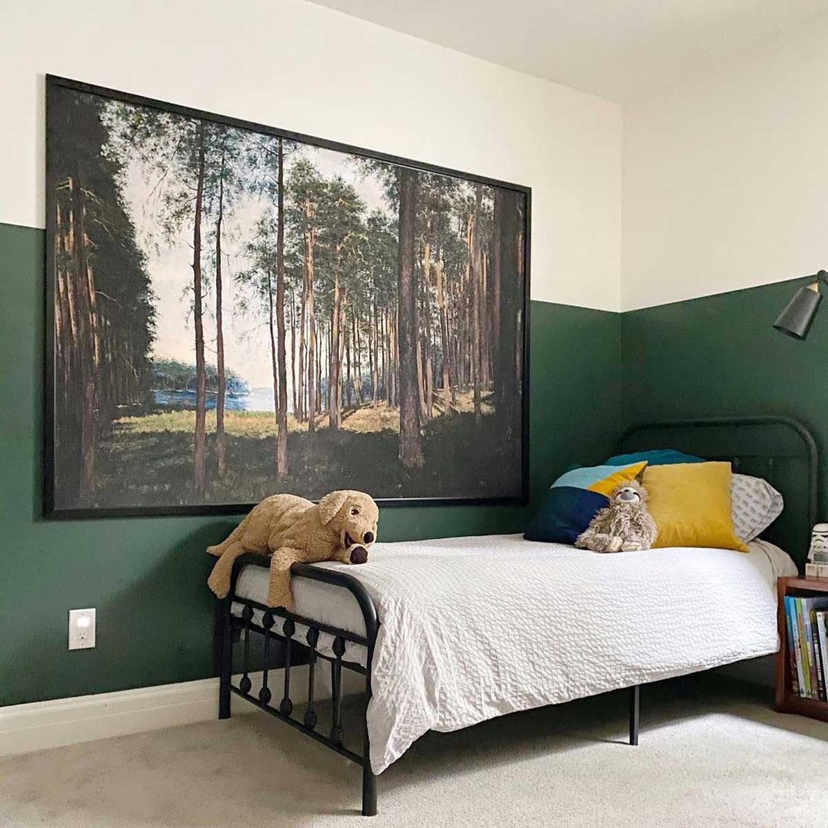 Bedroom with large nature art