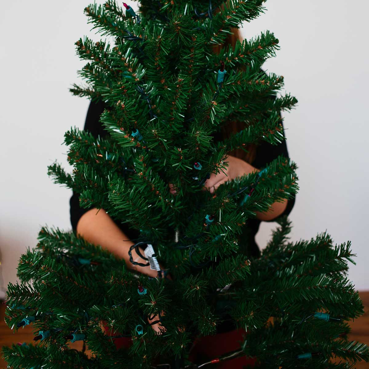 Putting away an artificial Christmas tree