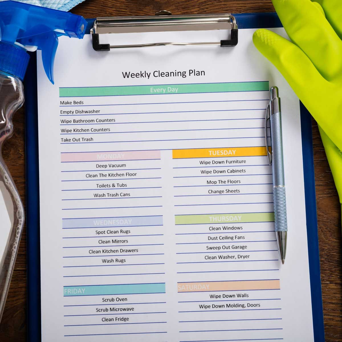Weekly cleaning schedule on paper