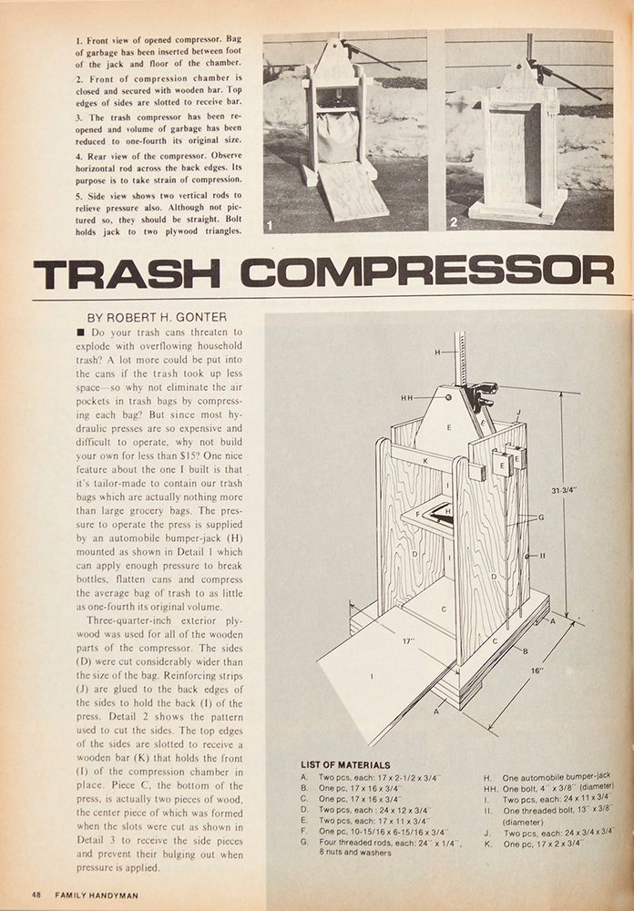 Vintage Family Handyman project page Fh70oct 48 Feature Trash Compressor 1200