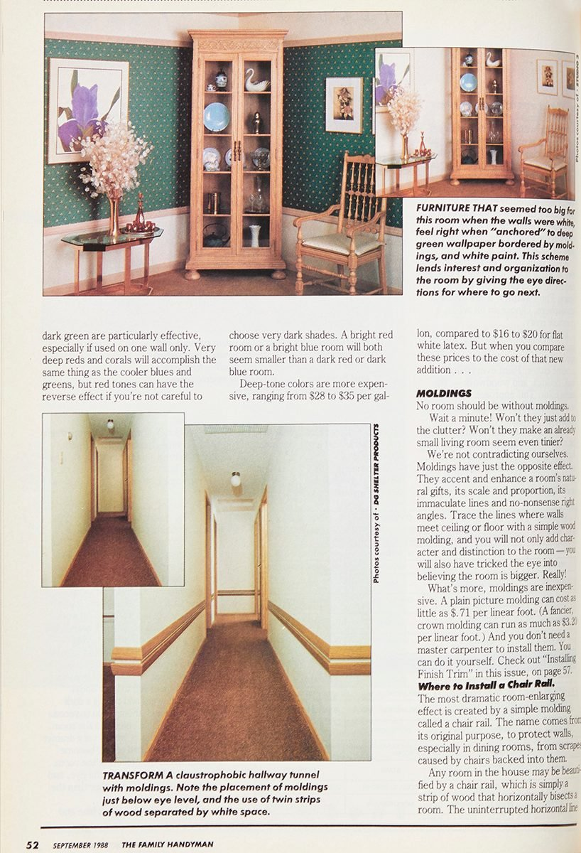 Vintage 1988 Family Handyman project on making a room look bigger