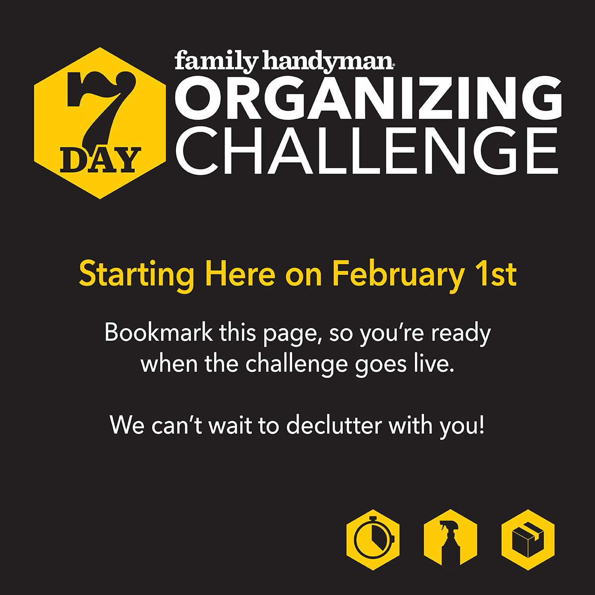 Organizing challenge announcement graphic
