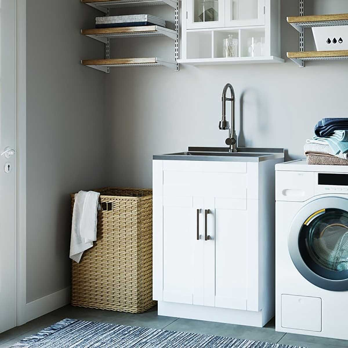 Stainless steel sink laundry