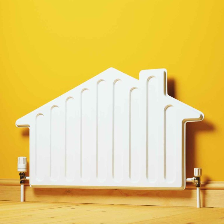 Digital image of a radiator in the shape of a house. Home Heating Gettyimages 200159760 001